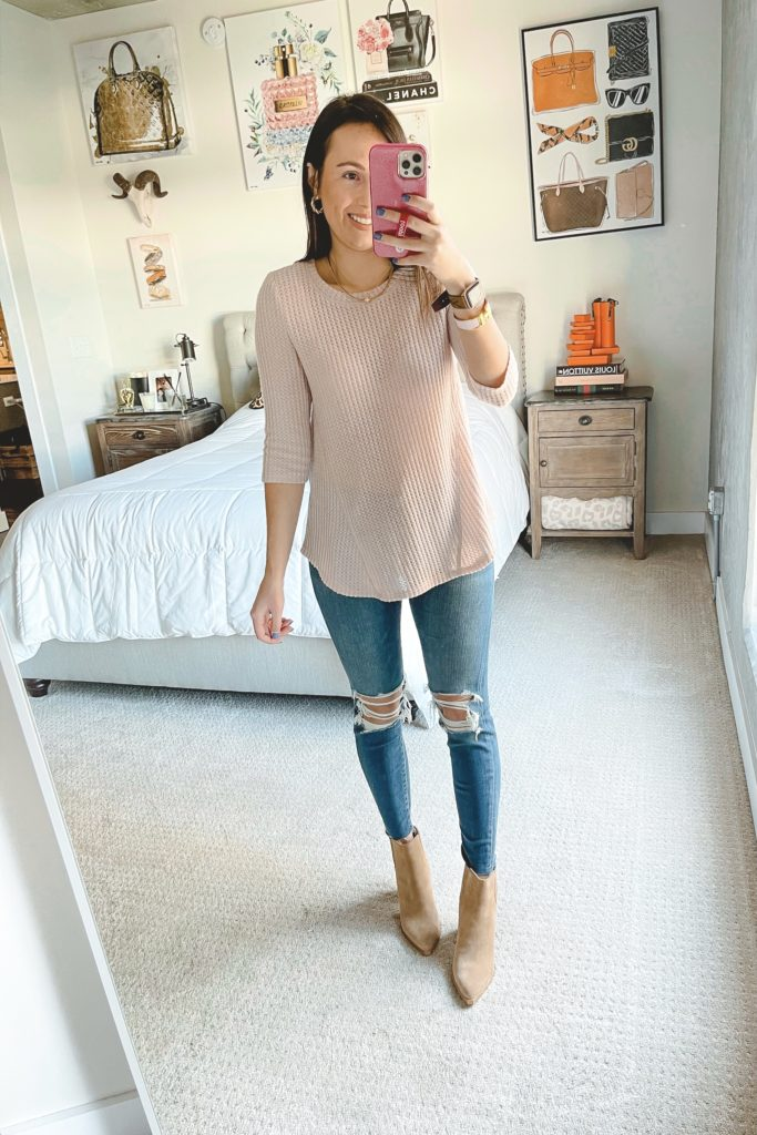 bobeau blush waffle knit with ripped jeans and booties