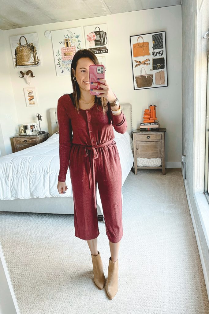 bobeau burgundy jumpsuit with booties