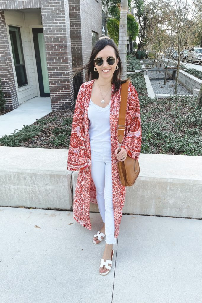 free people enchanted kimono with white denim and hermes gold evelyne pm