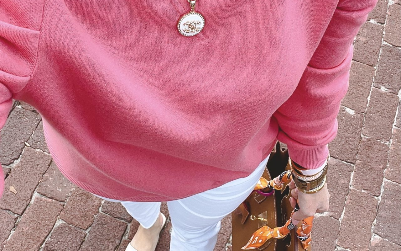 rebecca minkoff janine sweatshirt with white denim and hermes birkin