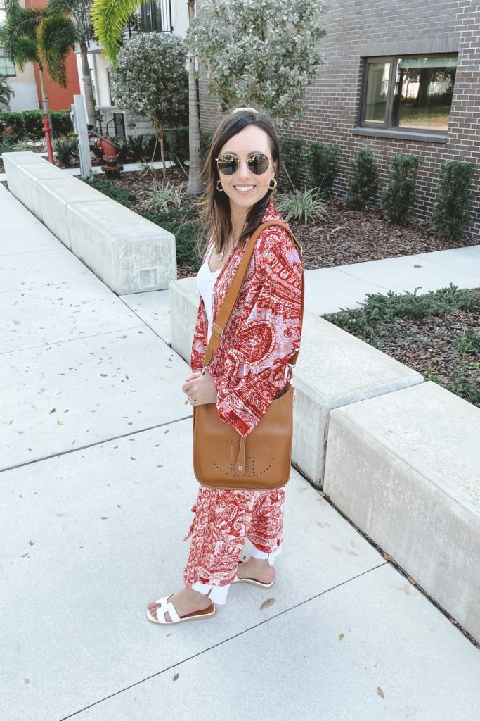 free people enchanted kimono with white denim and hermes gold evelyne