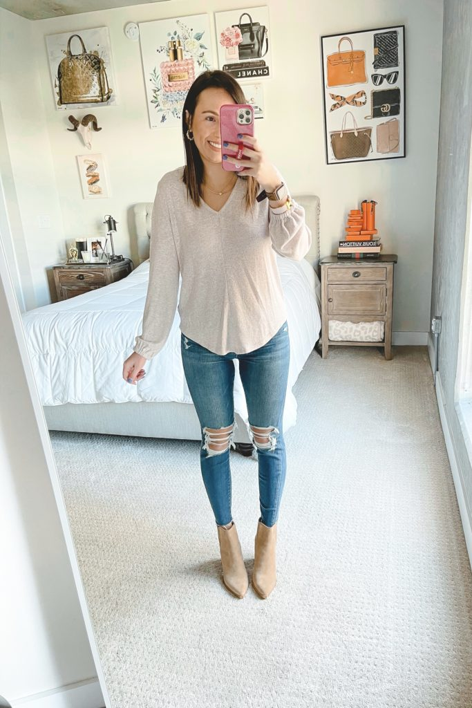 bobeau blush long sleeve with ripped jeans and booties