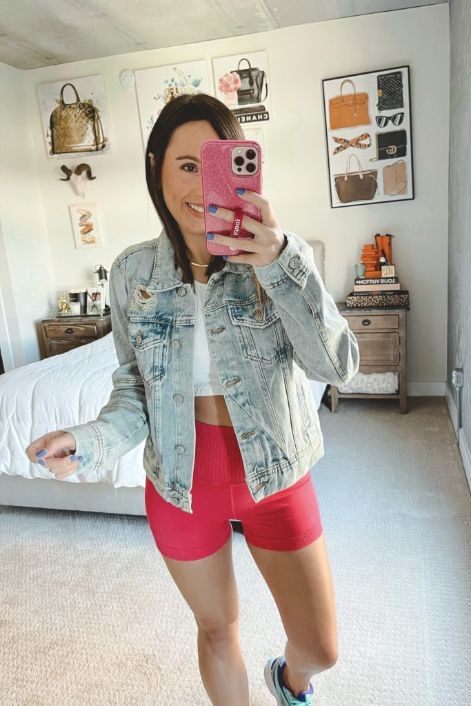 free people destroyed denim jacket with punch run bike shorts