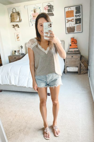 amazon grey lace trim tank with agolde shorts and sandals