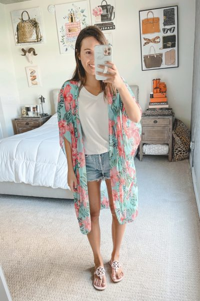 amazon floral kimono with agolde shorts and sandals