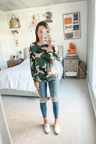 amazon camo long sleeve with ripped jeans and mules