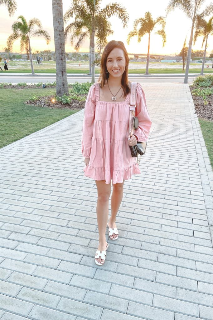 cotton candy la pink long sleeve dress with h sandals and louis vuitton multi pochette