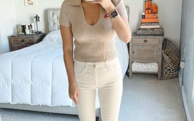abercrombie ribbed sweater polo with cream jeans and braided sandals