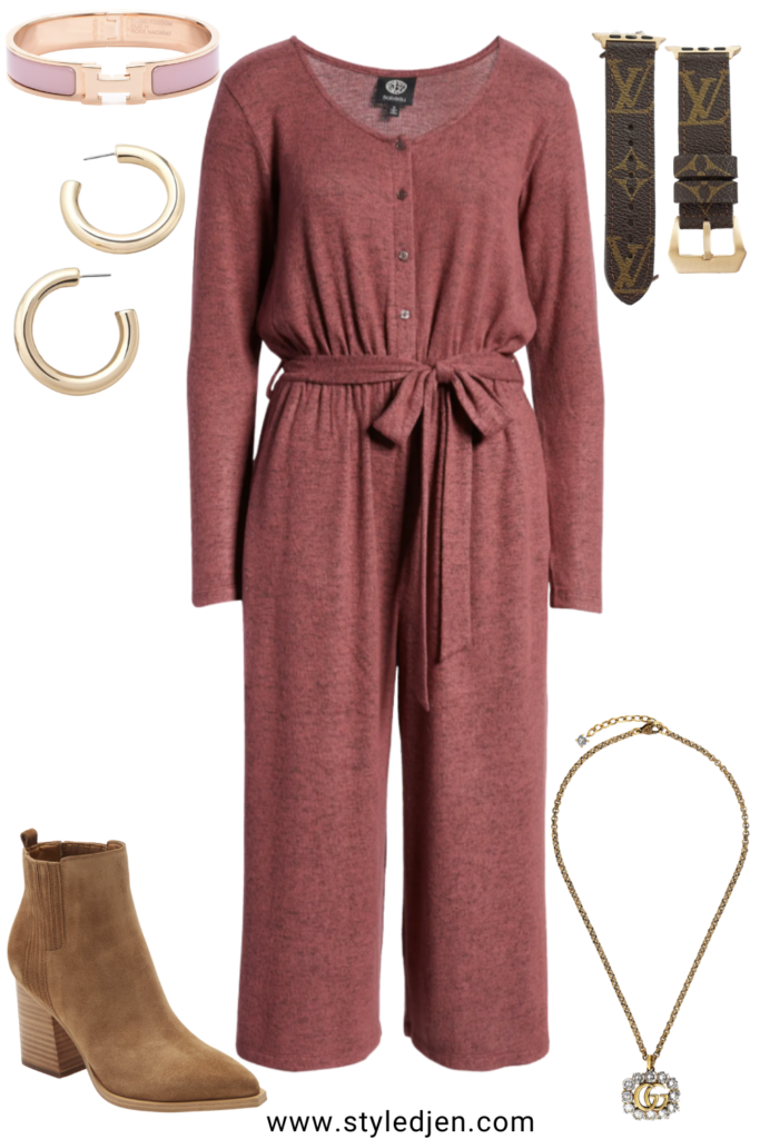 bobeau burgundy jumpsuit with marc fisher booties