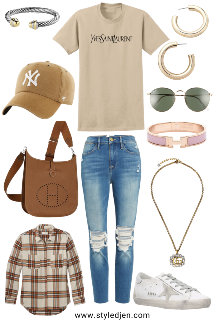 saint laurent tan tee with yankees hat and hermes evelyne